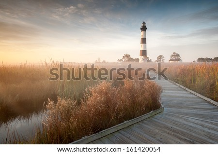 Bodie Island Lighthouse Foggy Boardwalk OBX Cape Hatteras North Carolina in Autumn