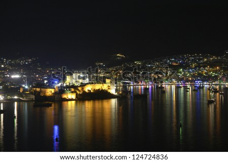 Bodrum at night. Bodrum bay and historical castle