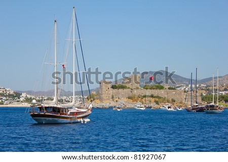 Bodrum castle and sailing boats