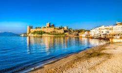 Bodrum Castle view from beach. Bodrum is populer tourist destination in Turkey.