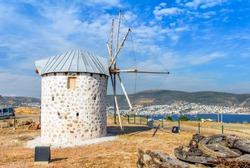 Bodrum, Mugla, Turkey -24 May 2010: Historical Windmill of Bardakci Cove