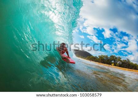 Body Boarder Surfing Blue Ocean Wave