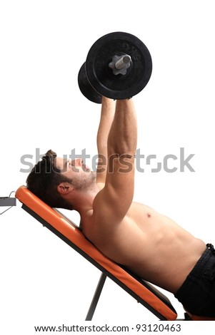 body builder exercise isolated on a white background