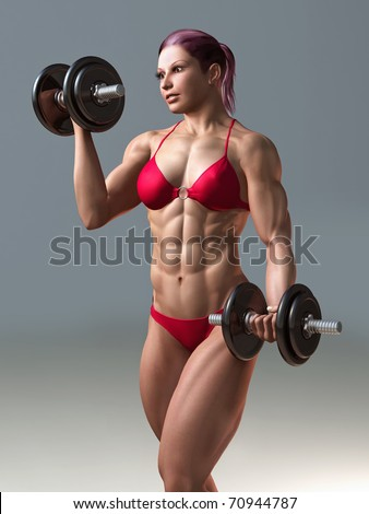 body building woman with dumbbell