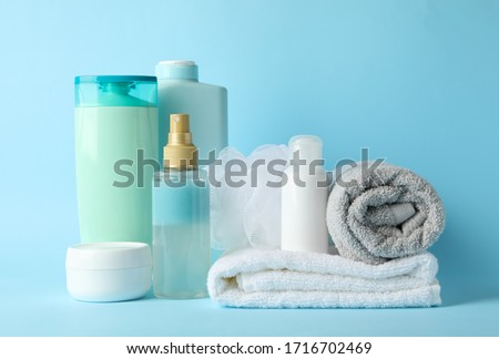 Body care products on blue background. Personal hygiene Stock foto ©