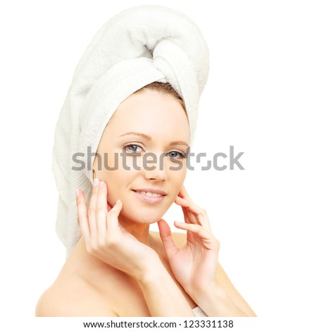 Body care - spa woman with bath towel - stock photo