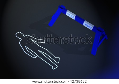 Body chalk outline in a crime scene