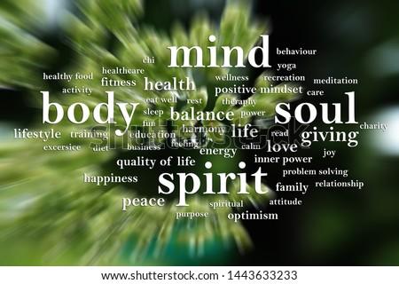 Body Mind Soul Spirit, business motivational inspirational quotes, words typography lettering concept Imagine de stoc ©