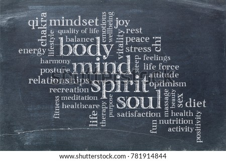body, mind, spirit and soul cloud - white chalk text on a slate blackboard