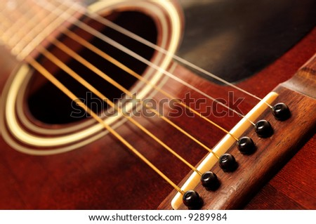 Body of an old acoustic guitar close up
