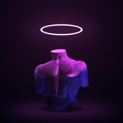 Body of statue in bold pink and blue neon colors on dark background. Minimal art fantasy concept.