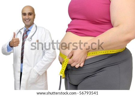 Body part of a fat woman with measuring tape and doctor in the background