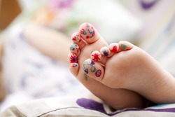 Body part, Painted childrens fingers feet
