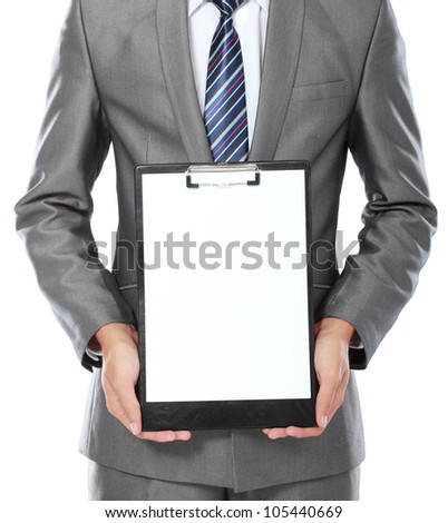 body portrait of business man showing blank clipboard isolated on white background