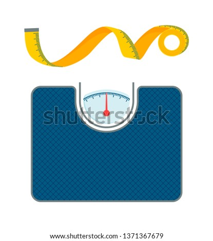 Body weight scales and measurement tape patterns raster illustration floor with red arrow lot of marks measurements tools