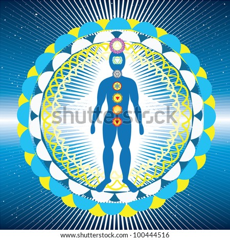 Body with chakras and yantra