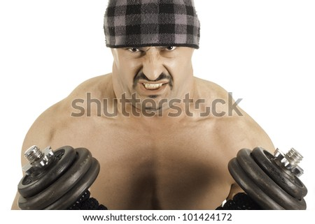 stock photo : Bodybuilder at hardcore biceps exercise isolated on white