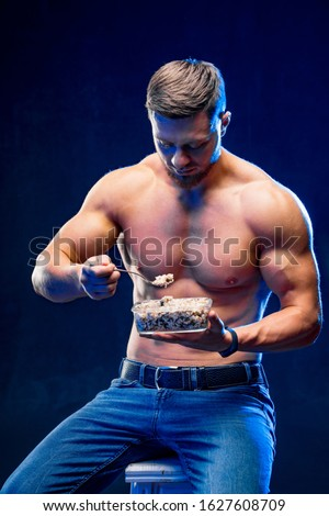 Bodybuilder diet and healthy eating. Healthy lifestyle concept.
