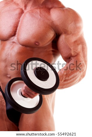 Bodybuilder exercising in front of white background