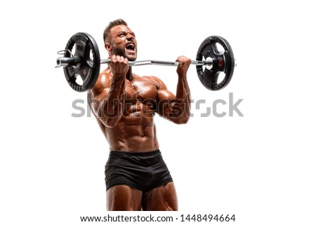 Bodybuilder Lifting Weights. Performing Barbell Bicep Curls