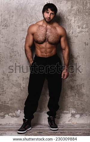 Hairy man muscled photo