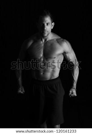 Bodybuilder on black