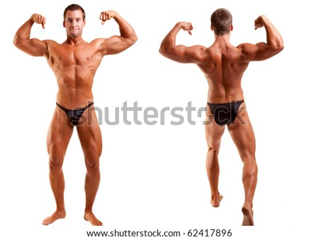 bodybuilder posing over white background -front, and rear view