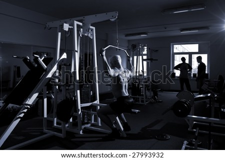 Bodybuilder's training in the gym