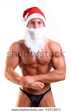bodybuilder santa claus - stock photo