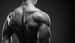 Bodybuilder showing his back and biceps muscles, personal fitness trainer. Strong man flexing his muscles