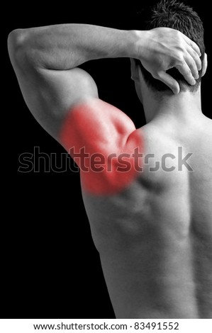Bodybuilder suffering from shoulder pain.