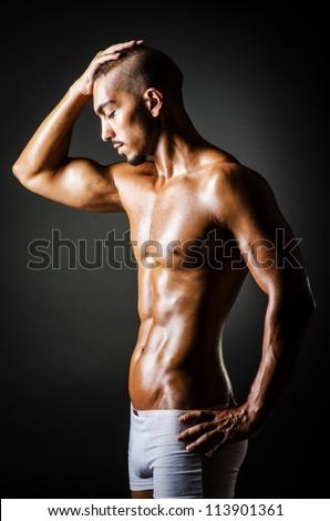 Bodybuilder with muscular body