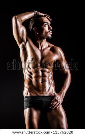 Bodybuilder with muscular body