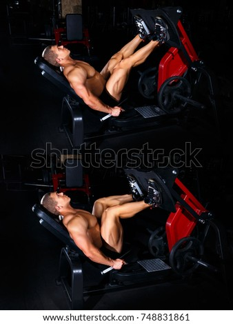 Bodybuilding concept. Exercises tutorial. Muscular man doing exercise for legs in gym. Fitness man show how to do leg press. Master class #748831861