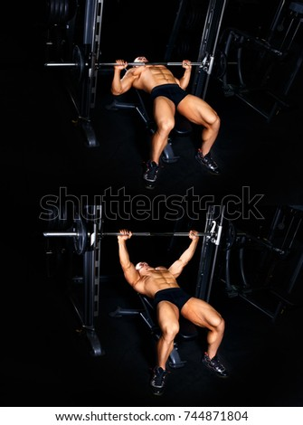 Bodybuilding exercises tutorial concept. Muscular man pumping up muscles on bench press with barbell gym. Bodybuilder show how to train chest with lifting weights master class #744871804