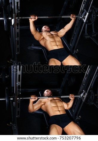 Bodybuilding tutorial. Muscular man pumping up muscles on bench press with barbell in gym. Bodybuilder show how to train chest with lifting weights. Master class #753207796