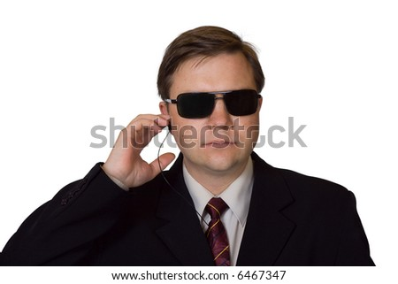 Bodyguard in sunglasses, isolated on white background