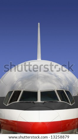 Boeing 777 Airplane with Blue Sky Background