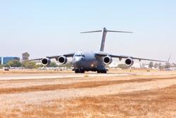 Boeing C-17 Globemaster III on its maiden flight lifting off from Long Beach, California.