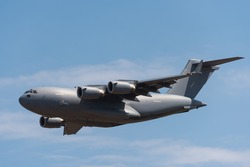 Boeing C-17 Globemaster 3 military transport aircraft flying