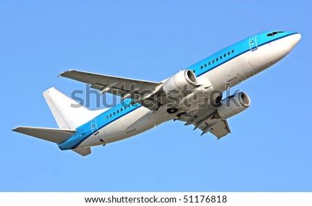 Boeing 737 in blue sky