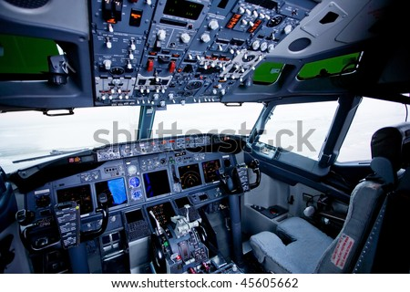 Boeing interior, cockpit view inside the airliner - stock photo