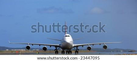 Boeing 747 jumbo jet front view - stock photo