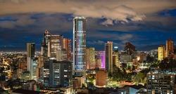 Bogota City Capital of Colombia Skyline Night Panoramic View