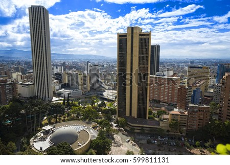 Shutterstock Bogota Colombia Panoramic View, buildings and vegetation. View of the city center.