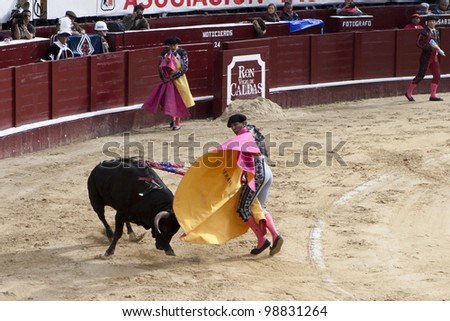 BOGOTA, COLUMBIA - JANUARY 18: A Colombian bullfighter was performing in the Plaza de Toros on January 18, 2009 in Bogota, Colombia.The popular bullfighting competition is held annually in Plaza de Toros.