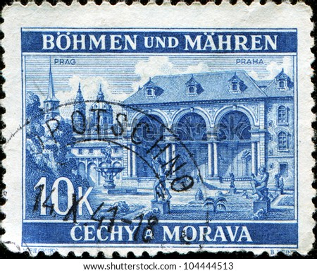 BOHEMIA AND MORAVIA - CIRCA 1940: A stmp printed in  Bohemia and Moravia shows Wallenstein Palace, Prague, circa 1940
