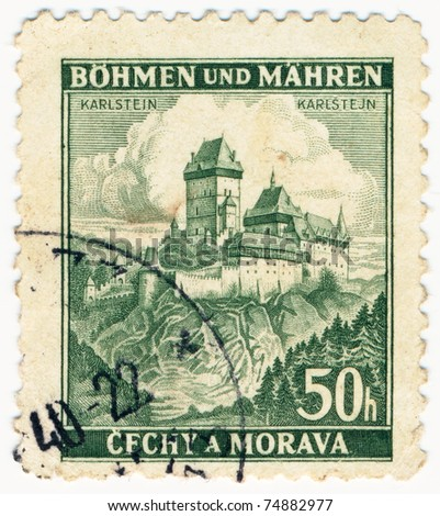 BOHEMIA - CIRCA 1939: A stamp printed during german occupation of Czechoslovakia, shows Karlstejn Castle, series, circa 1939