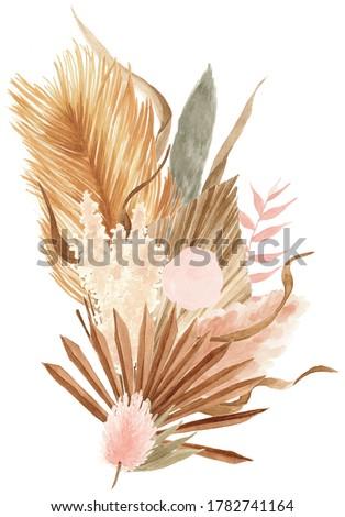 Bohemian Dried Foliage Bouquet, Dried Flowers, Dried Leaves, Boheme Floral, Wedding Bouquet, Leaves Floral Bouquet