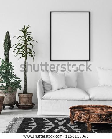 Bohemian interior with frame mock-up, 3d render